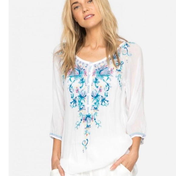 Johnny Was Tops - Johnny Was Blue Moon Blouse Size XXL